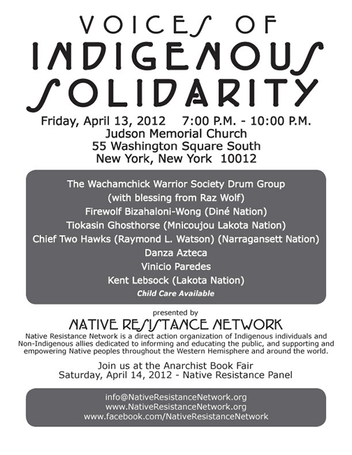 Flyer for Voices of Indigenous Solidarity