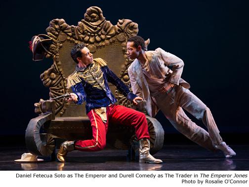 Daniel Fetecua Soto as The Emperor and Durell Comedy as The Trader in The Emperor Jones.  Photo by Rosalie O'Connor