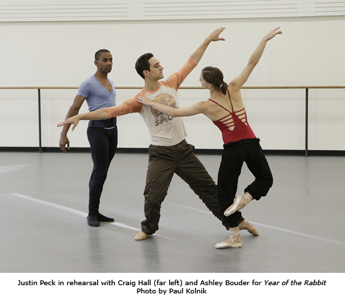 Craig hall, Justin Peck and Ashley Bouder rehearse Year of the Rabbit - Photo by Paul Kolnik