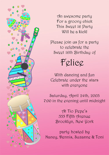 Sweet Sixteen Invitation Style Sw - Contoh invitation card sweet seventeen birthday party