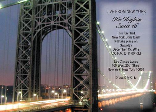 New York Theme Invitation NYT11 – New York Party Invitations