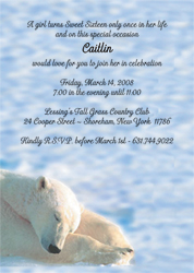 Polar Bear Animal Theme Invitation