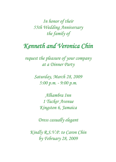 Emerald Anniversary Invitation