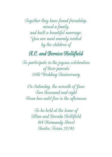 Emerald Anniversary Invitation