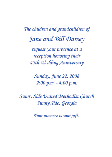 Sapphire Anniversary Invitation