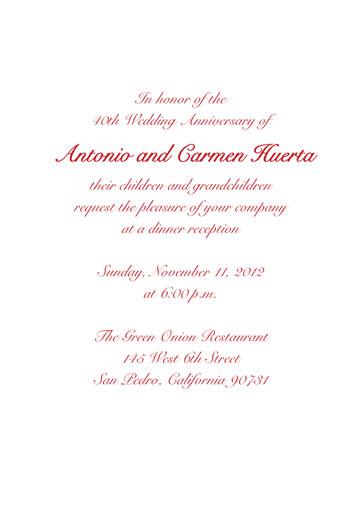 50th Wedding Anniversary Party Invitation Style 1c