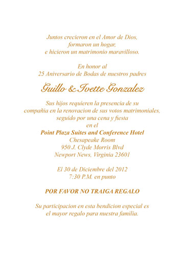 25th Anniversary Party Invitation Style 1S Spanish