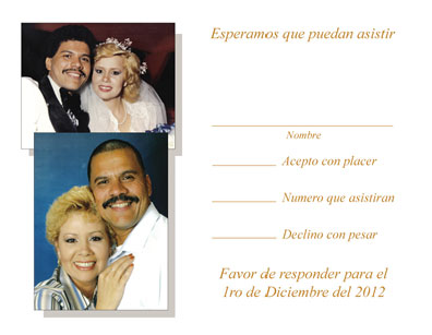 25th Anniversary Party Invitation, Style 1S Spanish