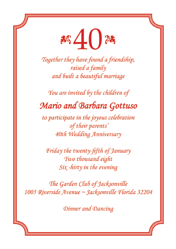 Anniversary Party Invitation, Style AP-006