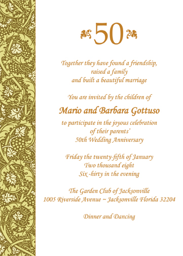 50th Wedding Anniversary Invitation Wording Samples In Hindi : ... anniversary party invitation 50th wedding anniversary party invitation