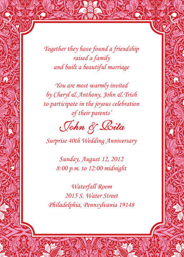 25 Personalized 40th Wedding Anniversary Party Invitations AP 014 ...