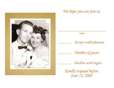 50th Wedding Anniversary Party Invitation, Style 1P