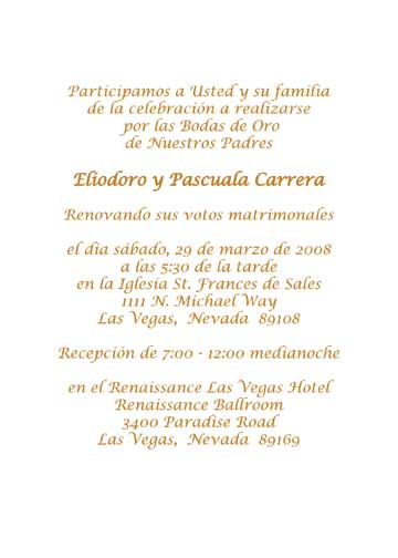 Spanish wedding anniversary party invitation style 1r golden anniversary invitation stopboris Choice Image