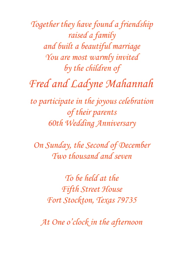 Sixtieth Wedding Anniversary Party Invitation