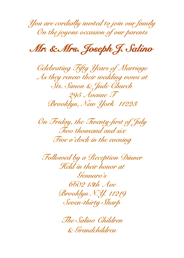 Wedding anniversary party invitation style 1n golden anniversary invitation stopboris