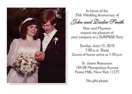 35th Wedding Anniversary Party Invitation Style 2 Sample E – Wedding Anniversary Party Invitations