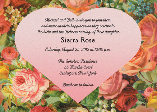 Jewish Baby Naming Invitations