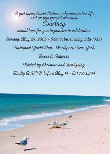 beach party invitations, Party invitations
