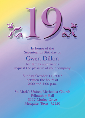 19th Birthday Party Invitation