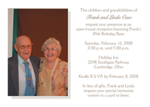 85th Birthday Invitations