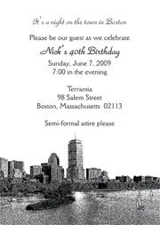 Boston Theme Invitations