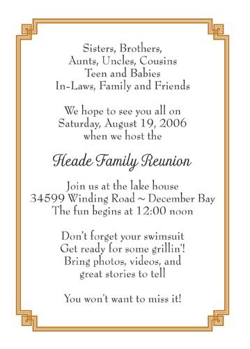 Family Reunion Invitation  Family Gathering Invitation Wording