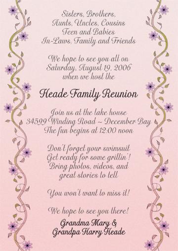 Family Reunion Invitation Style fr12