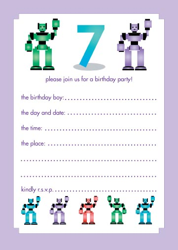 Childrens Birthday Party Invitations Years Old Boy LOOK - Birthday invitation card for 7 years old boy