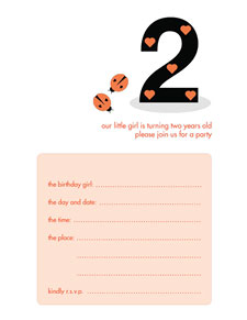 Birthday Party Invitation - Two Years Old