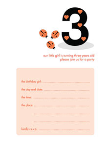 Birthday Party Invitation - Three Years Old