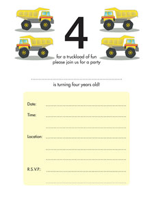 Birthday Party Invitation - Four Years Old