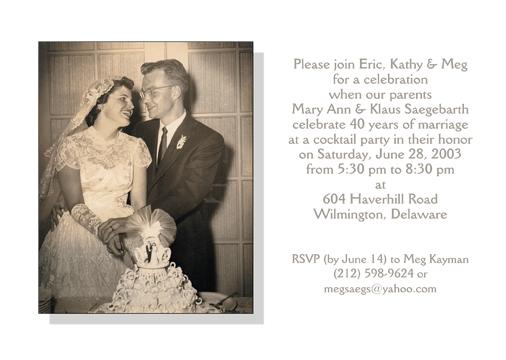 Wedding Anniversary Party Invitations – Wedding Anniversary Party Invitations