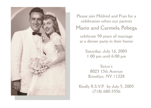 50th wedding anniversary party invitation, style 2 sample b, Wedding invitations