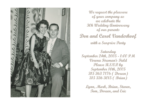 30th Wedding Anniversary Party Invitation, Style 2 Sample F