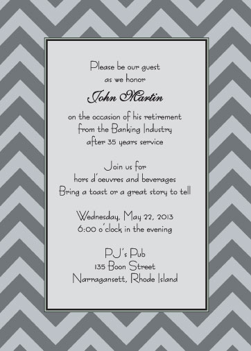 25 Personalized Retirement Party Invitations - Rpit-24 Black And
