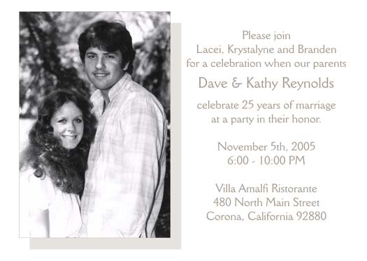 25th wedding anniversary party invitation, style 2 sample d, Wedding invitations