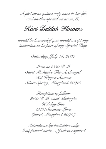Sweet 15 Invitation Wording In Spanish Quotes
