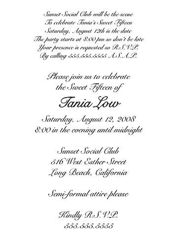 Sweet 15 Invitations Wording Custom Invitations