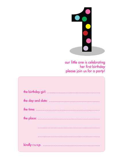 Kids Birthday Party Invitation Template 1 Year Old Girl Item No