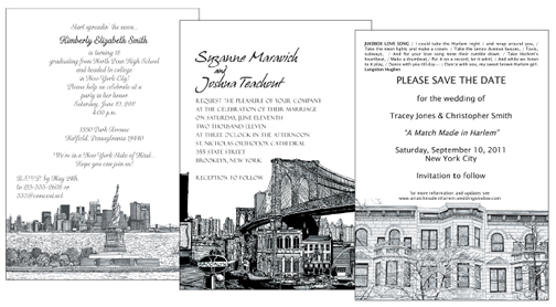 new york theme invitations