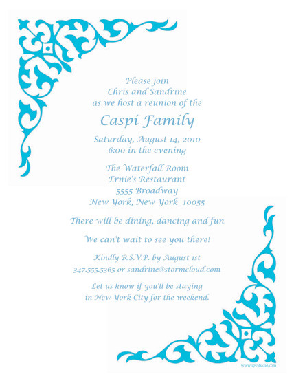 Family Reunion Template FRT07 – Reunion Party Invitations