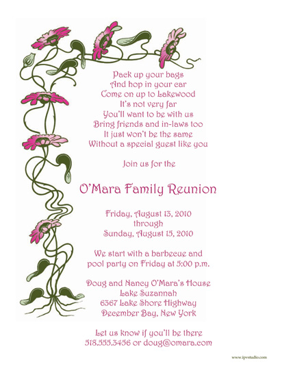 Family Reunion Template FRT08 – Reunion Party Invitations