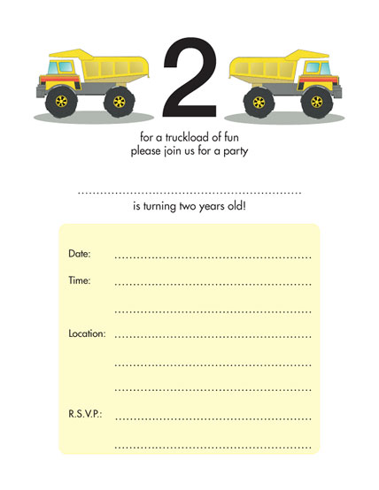 Birthday Party Invitation KBIF12 – 2 Year Old Birthday Invites