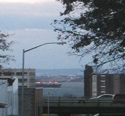 Enlarged Detail of Ship in NY Bay