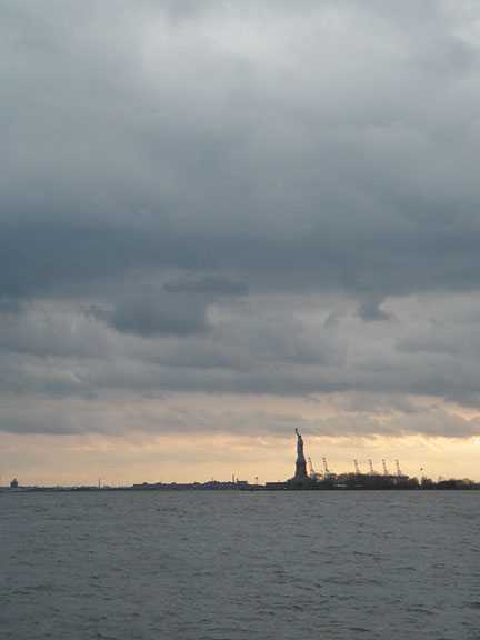 Statue of Liberty - New York Bay at Dusk