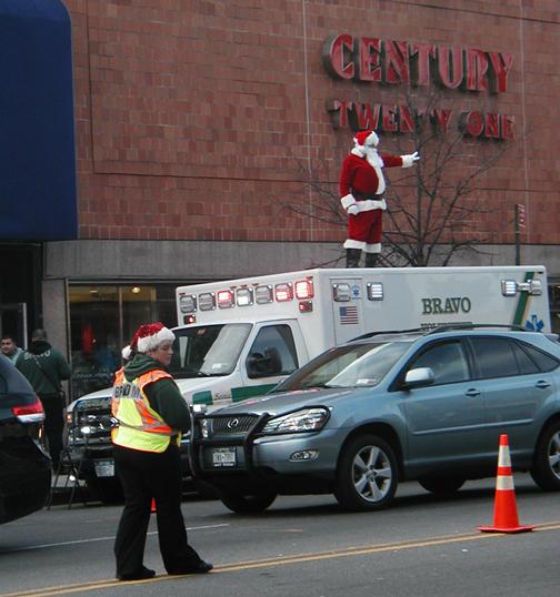 Bay Ridge - Santa dancing on top of BRAVO Ambulance