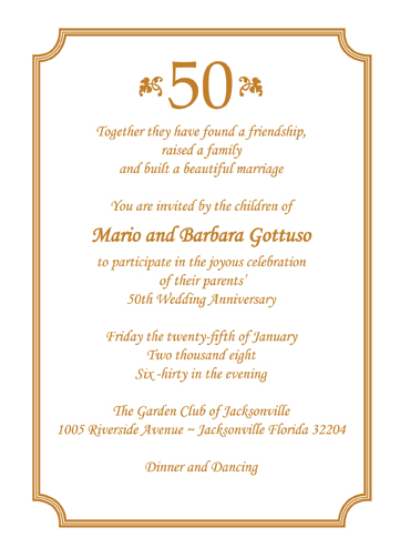 50th Wedding Anniversary Invitation Wording Samples Wedding Ideas
