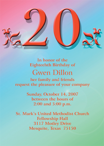 20th Birthday Party Invitation