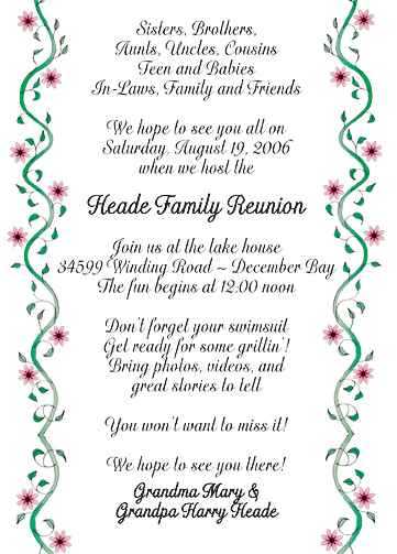Family Reunion Invitations. Family Reunion Invitation Letter