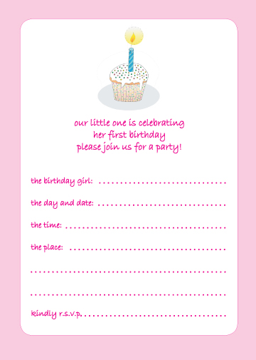 of 10 Childrens Birthday Party Invitations, 1 Year Old Girl   BPIF 16